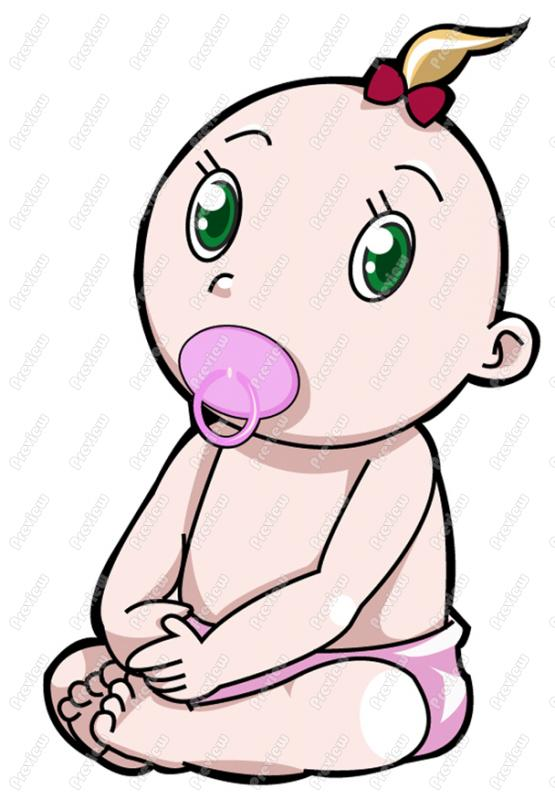555x800 Baby Girl With Soother Clip Art