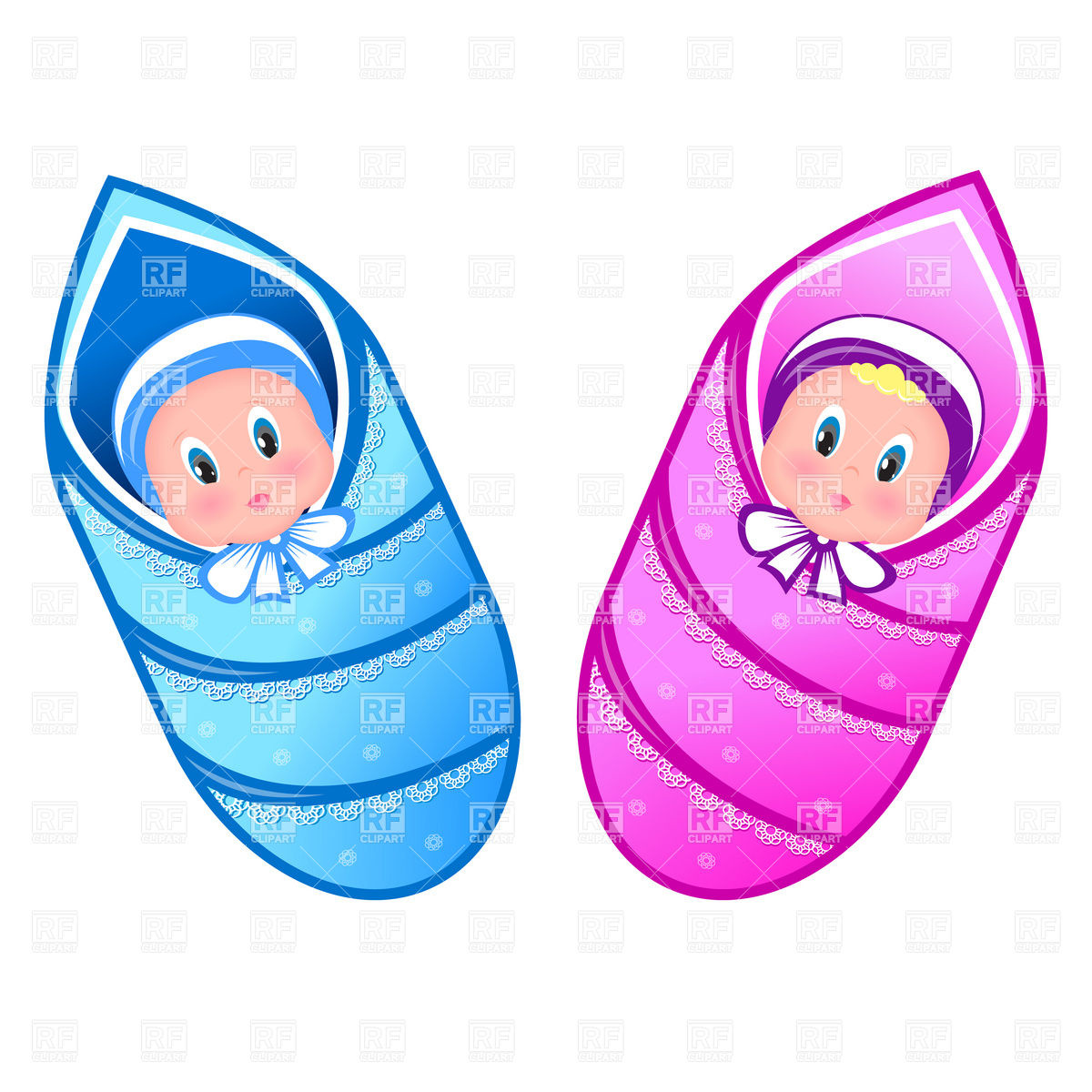 1200x1200 Baby Boy And Girl In Swaddling Clothes Royalty Free Vector Clip