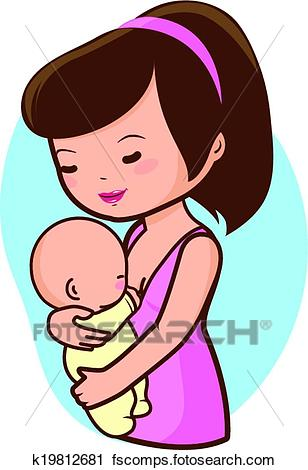 308x470 Clipart Of Mother Breastfeeding Baby K19812681