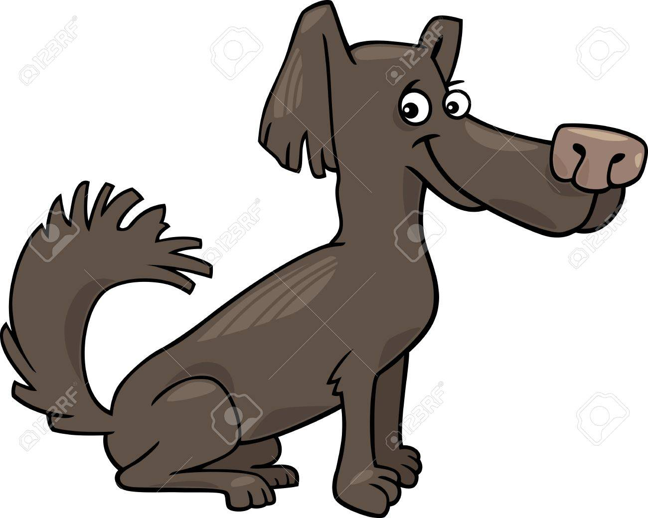 1300x1040 Cartoon Illustration Of Funny Little Shaggy Dark Brown Dog Royalty