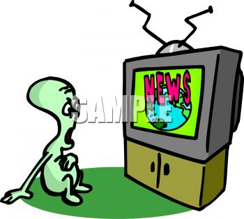 350x313 Watching Tv Free Clip Art Image Alien Watching The Television News