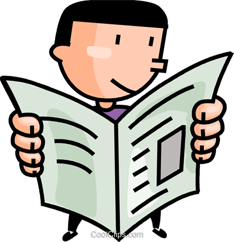 465x480 Man Reading The Newspaper Royalty Free Vector Clip Art