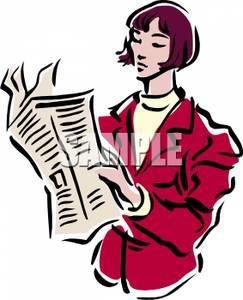 243x300 Businesswoman Reading The Newspaper