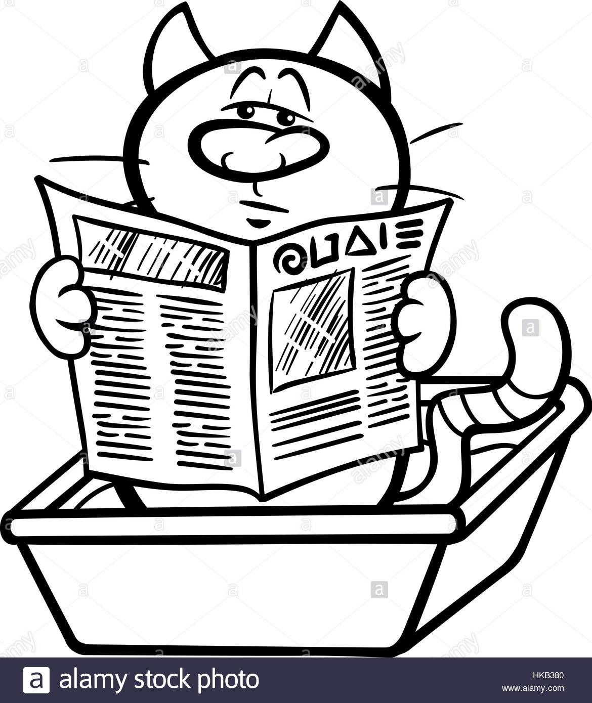 1170x1390 Black And White Cartoon Illustration Of Cat Reading A Newspaper In
