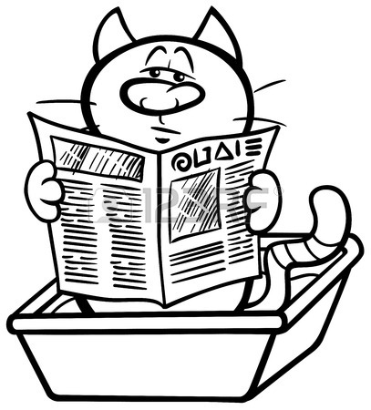 407x450 Cartoon Illustration Of Cat Reading A Newspaper In His Litter
