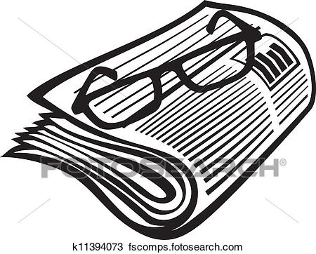 450x362 Clipart Of Newspaper Icon And Reading Glasses K11394073