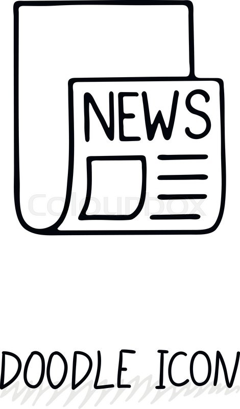 470x800 Doodle News Icon. Newspaper Symbol. Print Sheet. Stock Vector