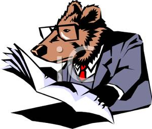 300x255 Free Clipart Image A Grizzly Bear Reading A Newspaper