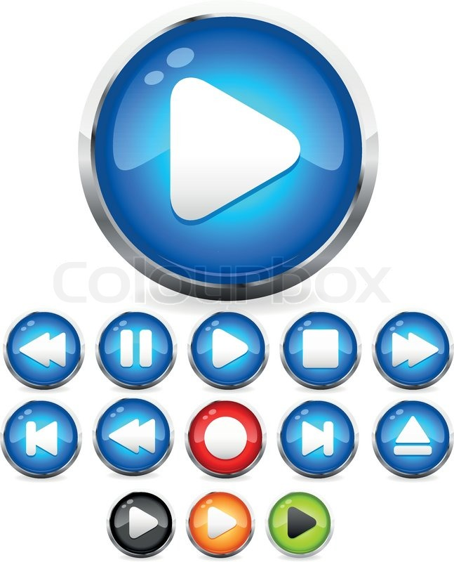 647x800 Shiny Eps10 Audio Buttons Play Button, Stop, Rec, Rewind, Eject