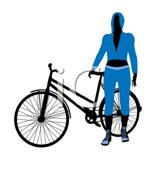 318x350 Cartoon Clip Art Of A Woman Standing Next To Her Bicycle