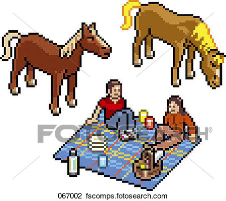 450x400 Clip Art Of Two People Having A Picnic Next To Two Horses 067002