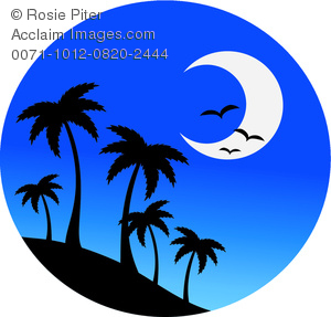 300x287 A Crescent Moon With Silhouetted Palm Trees