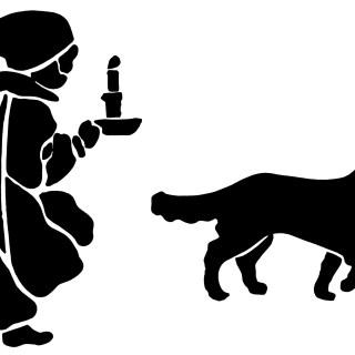 320x320 Victorian Boy And Dog ~ Free Vintage Clip Art Stencils