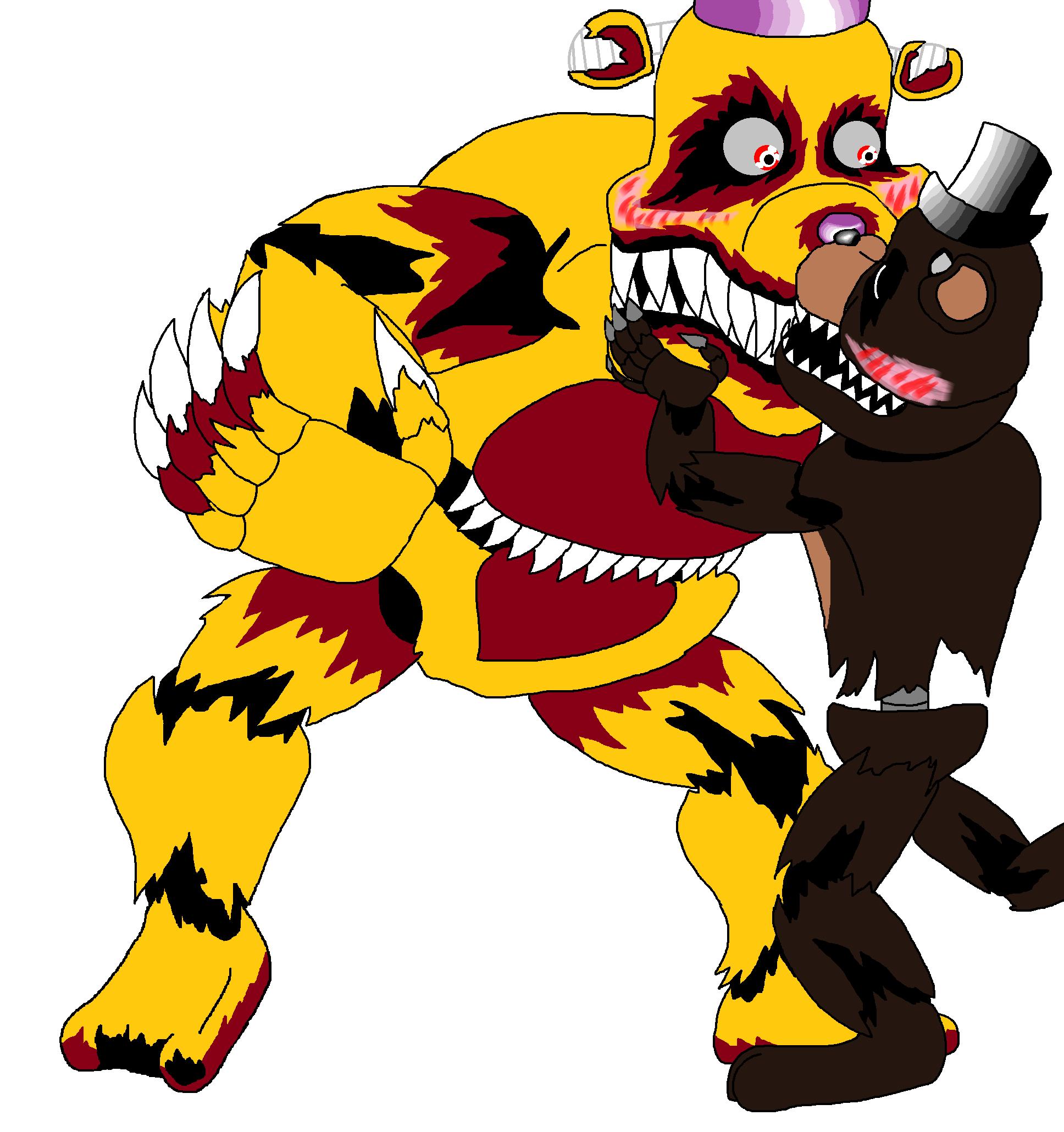 1936x2060 Nightmare Fredbear X Nightmare Freddy! By Terrordactyl1