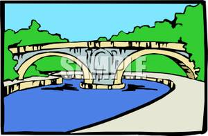 300x197 Clipart Bridge Over River