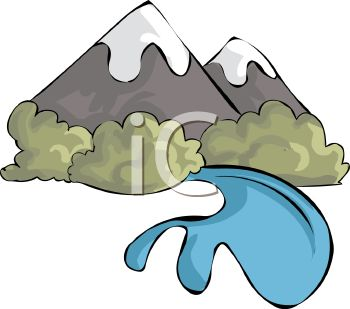 350x309 Mountain River Clipart