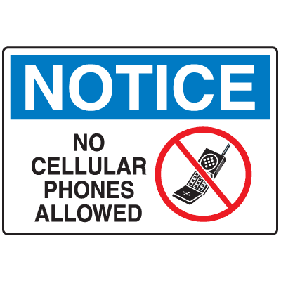 400x400 Cell Phone Notice Signs