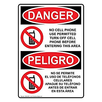 342x342 Compliancesigns Vertical Plastic Osha Danger No Cell Phone Use