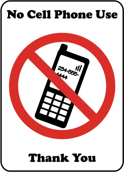 433x600 No Cell Phone Use Thank You Sign F7220