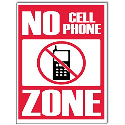 425x425 No Cell Phone Zone, Sign