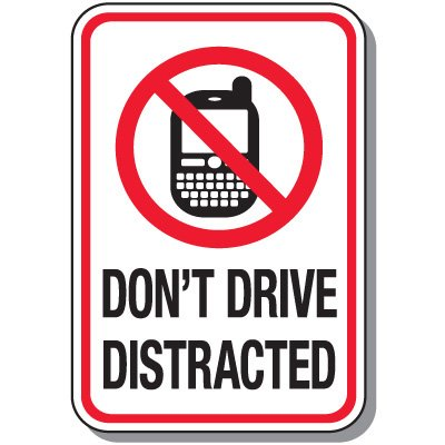 400x400 No Texting Amp Cell Phone Law Signs