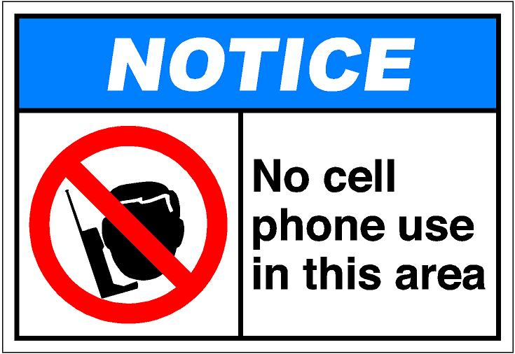 735x506 Notice No Cell Phone Use Area Clipart