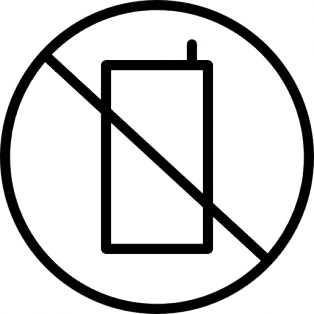 626x626 No Cell Phone Clipart Black And White