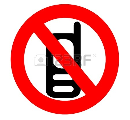 450x416 No Cell Phone Icon Sign Isolated Over A White Background Stock