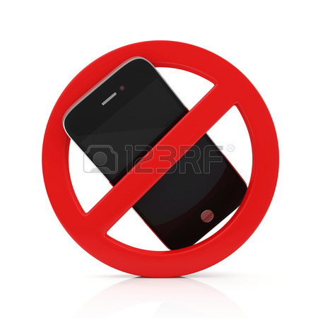 450x450 3d Render Of No Cell Phone Sign Isolated On White Background Stock