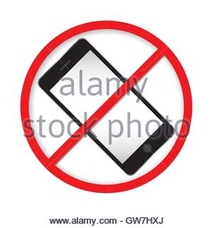 300x320 Red Sign For No Cell Phone Usage Stock Photo, Royalty Free Image
