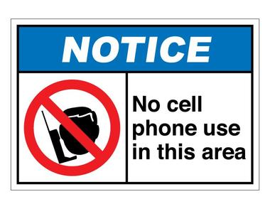 380x294 Notice No Cell Phones Allowed Sign