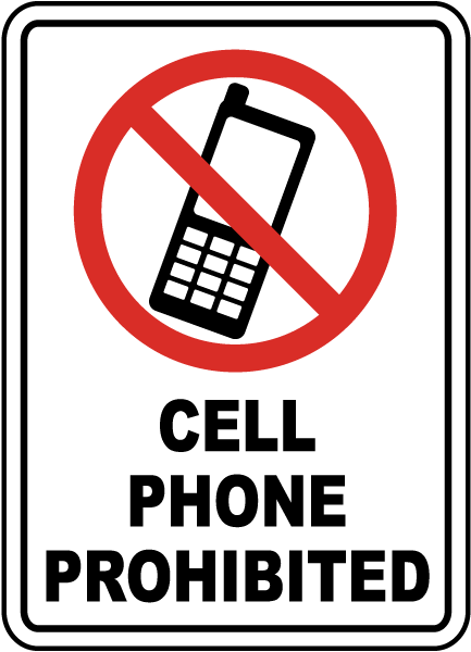 433x600 Cell Phone Prohibited Sign F7207