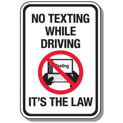 400x400 No Texting Cell Phone Law Signs, No Texting While Driving Law Seton