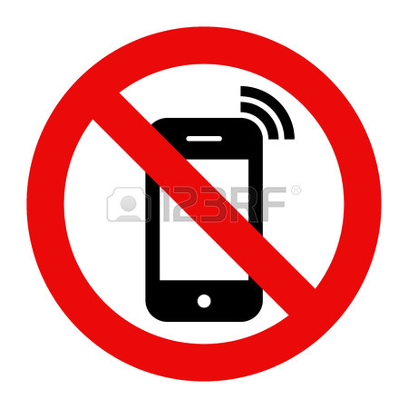 450x450 Mobile Phone Prohibited. No Cell Phone Sign Isolated On White