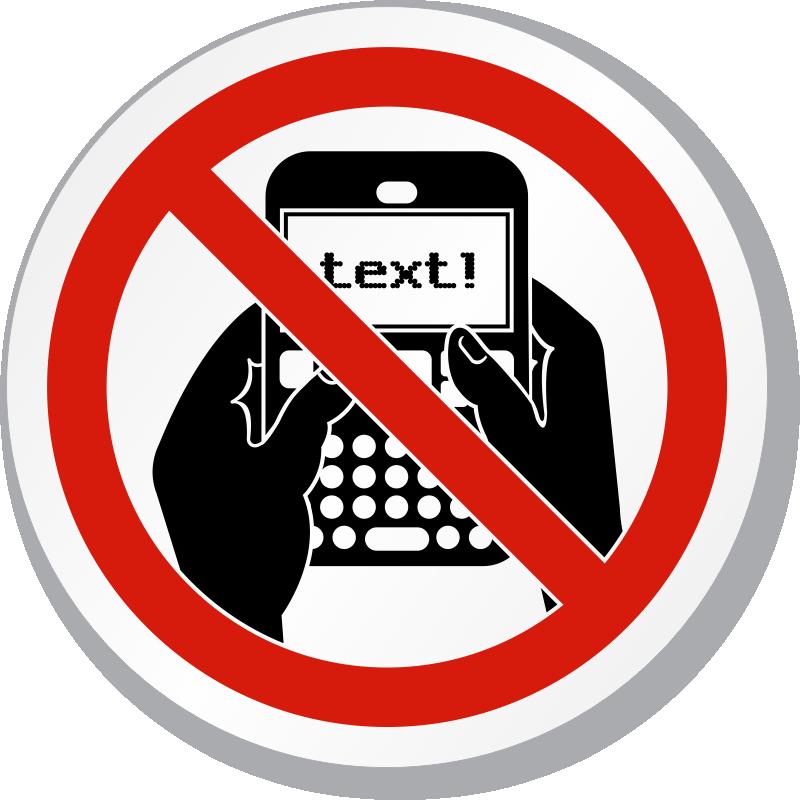 800x800 No Texting Symbol Iso Prohibition Circular Sign, Sku Is 1220