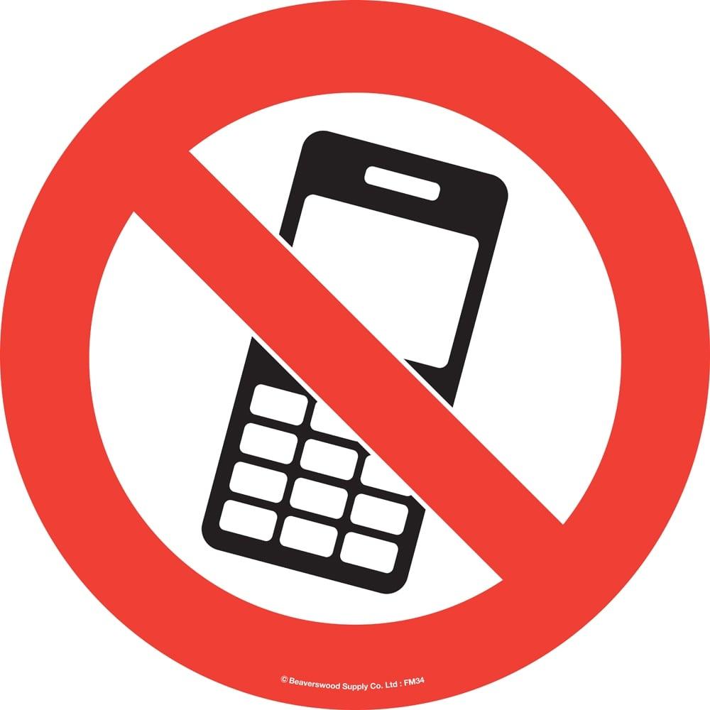 1000x1000 Floor Marker Sign No Mobile Phones