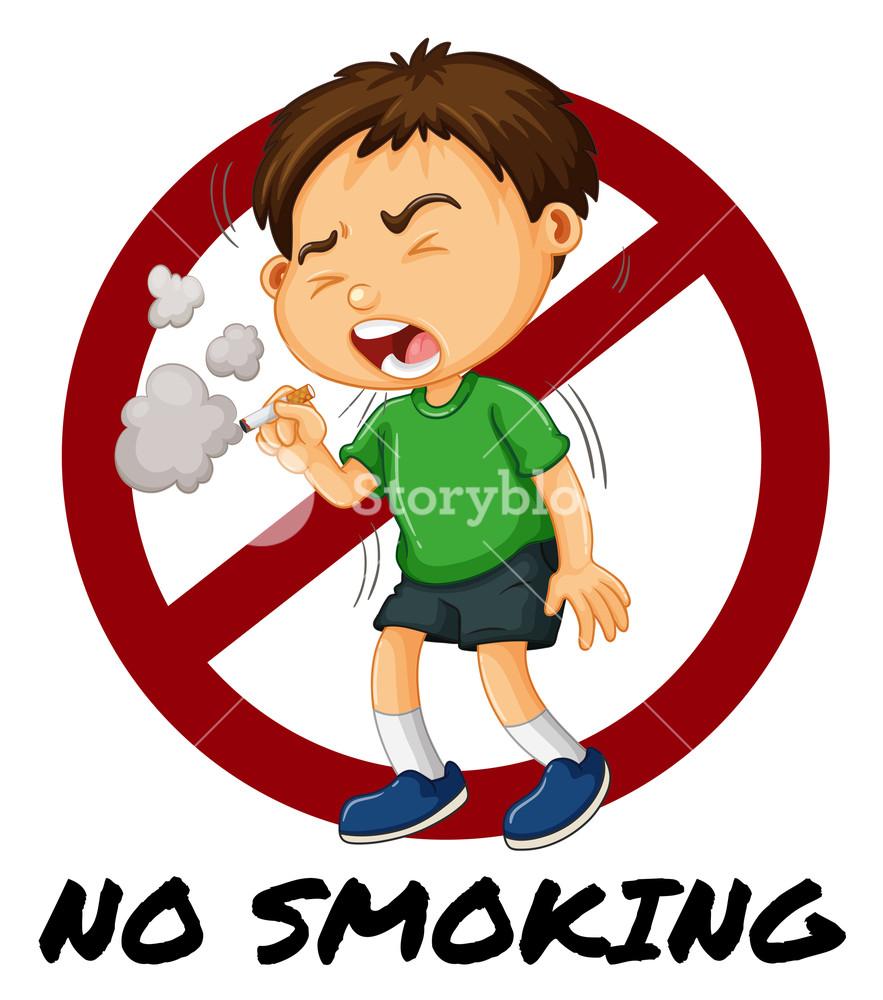 883x1000 No Smoking Sign With Boy Smoking Cigarette Illustration Royalty
