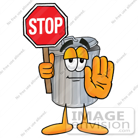 450x450 Cliprt Graphic Of Metal Trash Can Cartoon Character Holding
