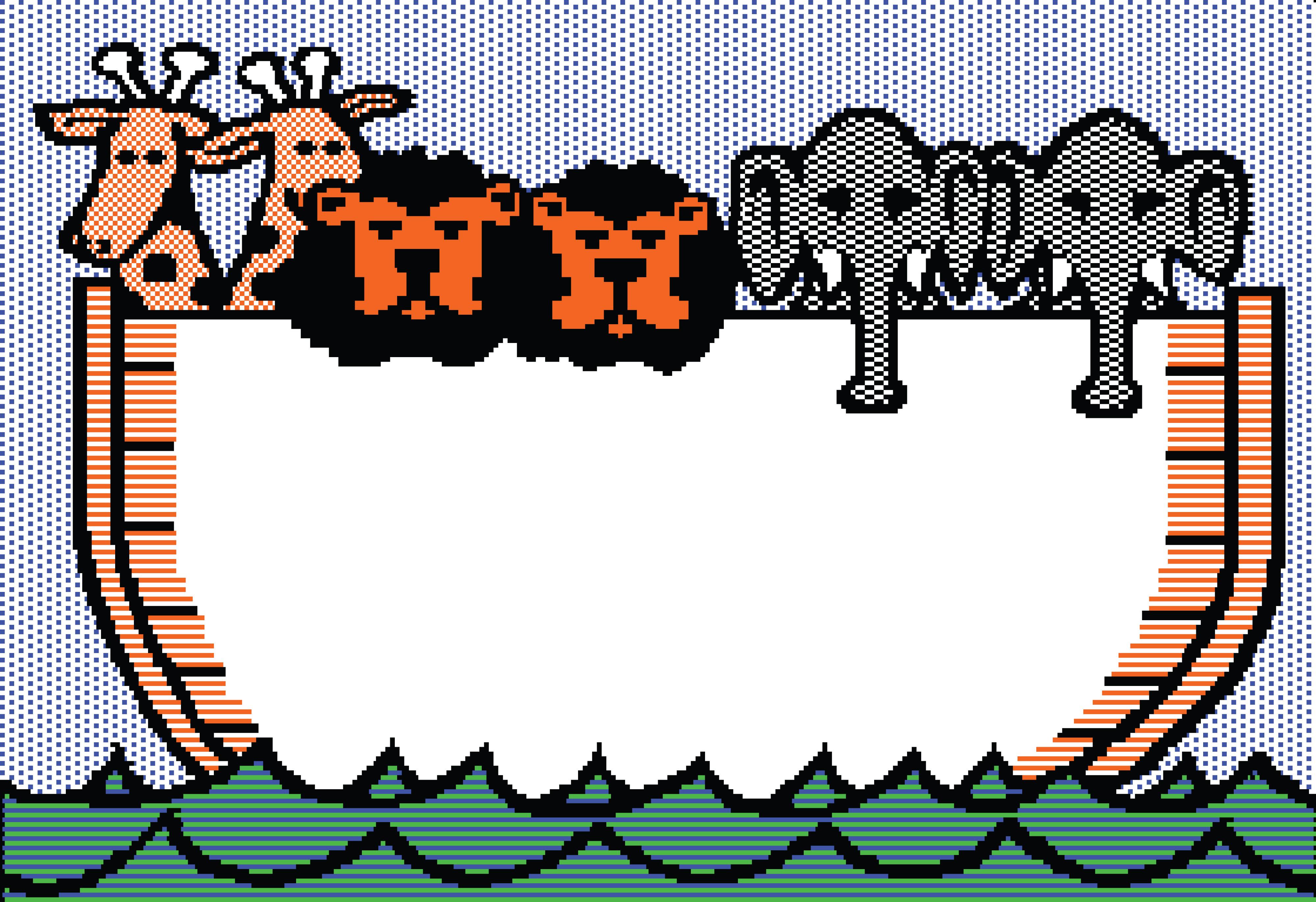 4000x2743 Clipart Of A Noahs Ark Beagle Screen With Giraffes, Lions