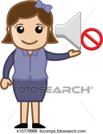 362x470 Clip Art Of Girl Indicating Sign To Noise Ban K15179966