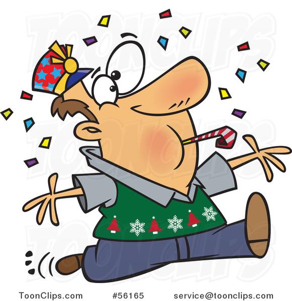 581x600 Cartoon Festive Brunette White Guy Blowing A Noise Maker