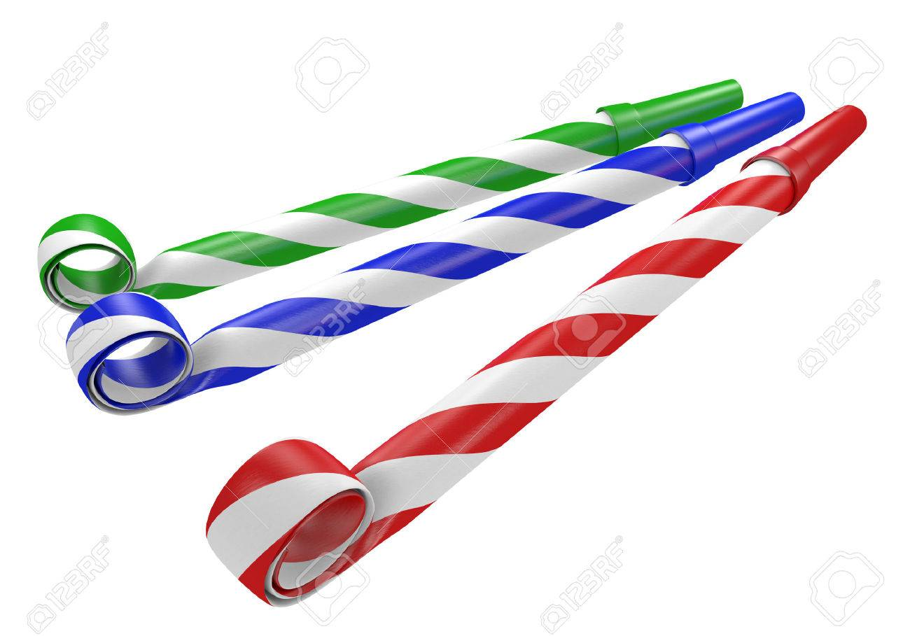 1300x909 Striped Red, Blue, And Green Noisemaker Party Horns Stock Photo
