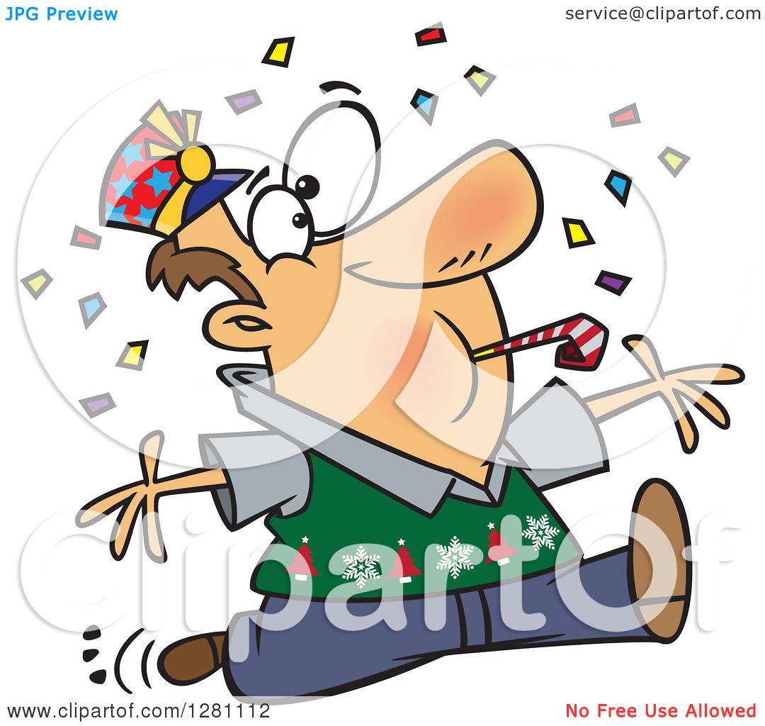 1080x1024 Cartoon Clipart Of Festive Brunette Caucasian Man Blowing