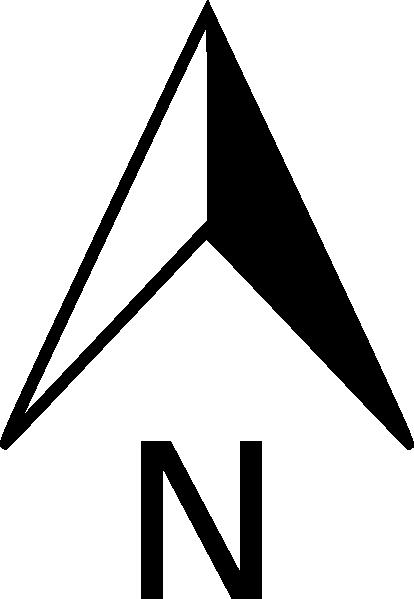 414x599 North Arrow Orienteering Clip Art