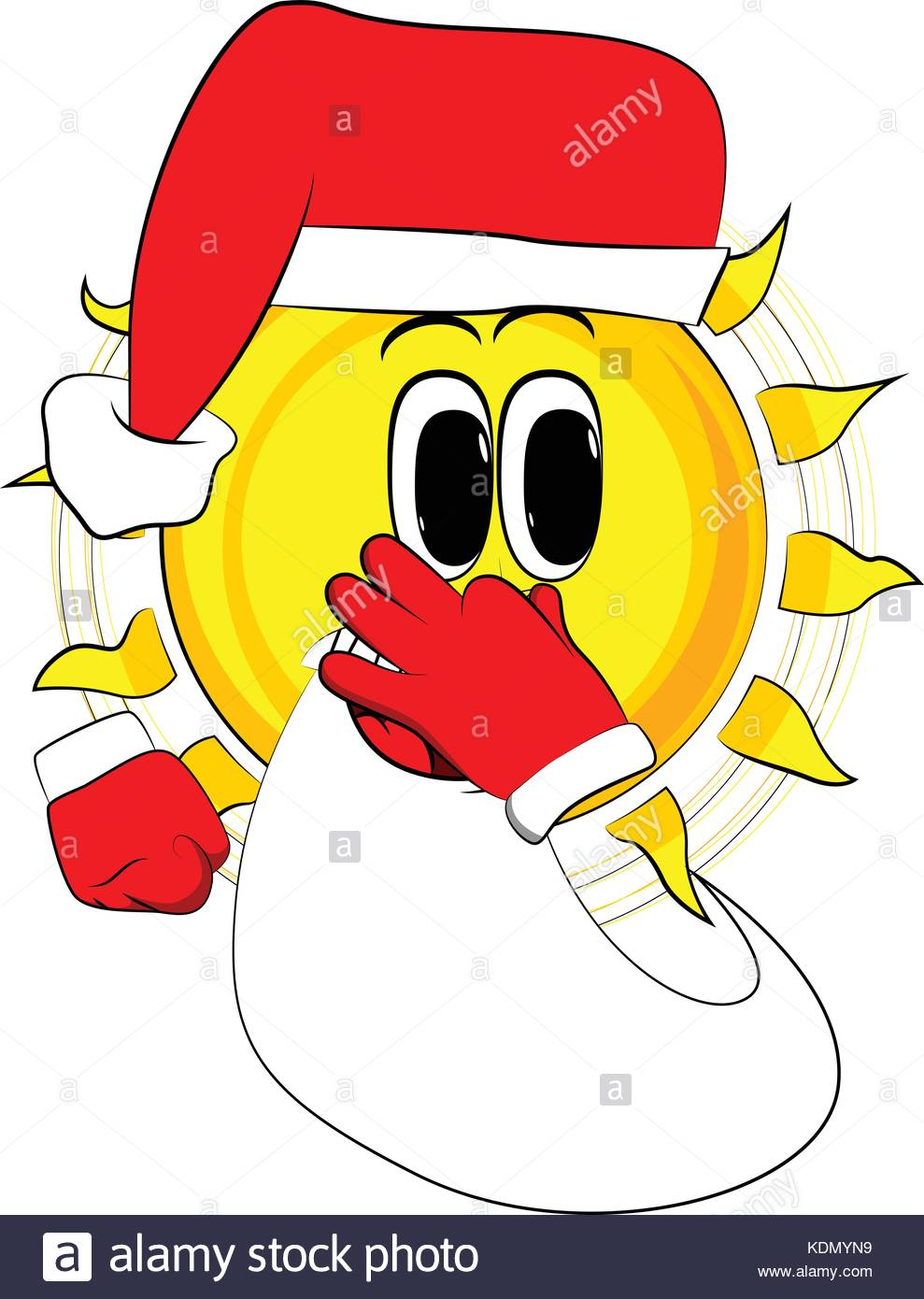 989x1390 Cartoon Sun As Santa Claus Holding His Nose Because Of A Bad Smell