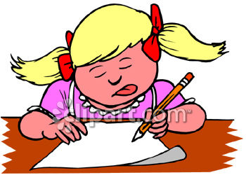 350x250 Girl Writing Clipart