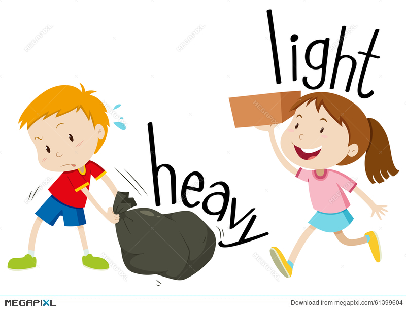 800x611 Opposite Adjectives Heavy And Light Illustration 61399604