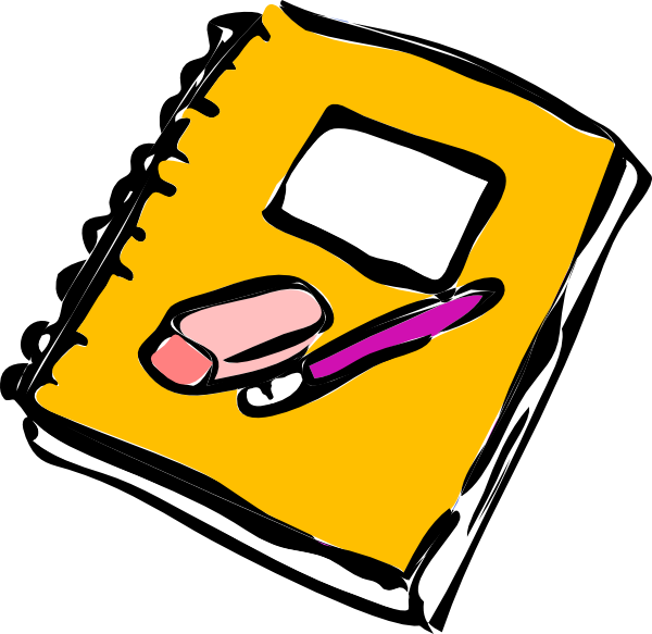 600x583 Notebook With Pencil And Eraser Clip Art
