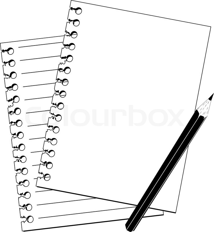 738x800 Pencil And Notebook In Black And White Stock Vector Colourbox