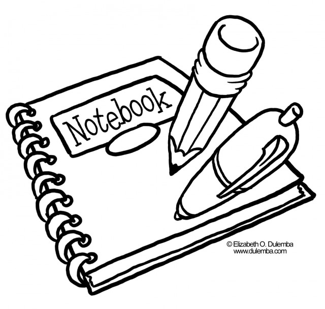 640x608 School Supplies Coloring Pages Clipart Panda